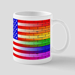 Gay Rainbow Wall American Flag Mugs