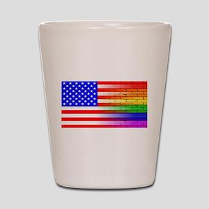 Gay Rainbow Wall American Flag Shot Glass