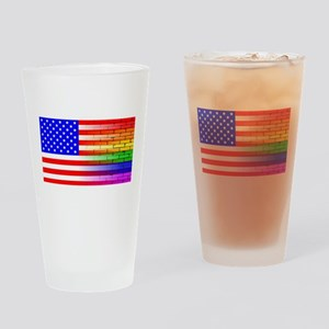 Gay Rainbow Wall American Flag Drinking Glass