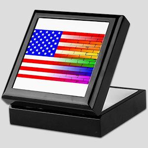Gay Rainbow Wall American Flag Keepsake Box
