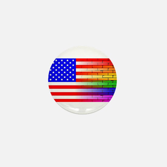 Gay Rainbow Wall American Flag Mini Button