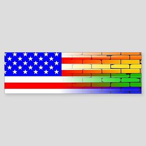 Gay Rainbow Wall American Flag Bumper Sticker