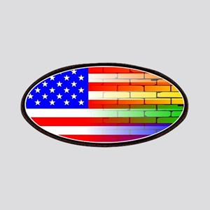 Gay Rainbow Wall American Flag Patch