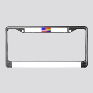 Gay Rainbow Wall American Flag License Plate Frame