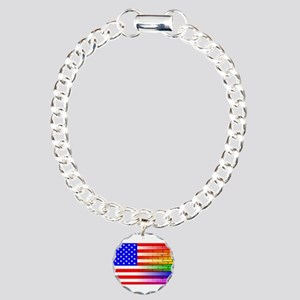 Gay Rainbow Wall America Charm Bracelet, One Charm