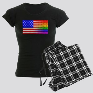 Gay Rainbow Wall American Fl Women's Dark Pajamas