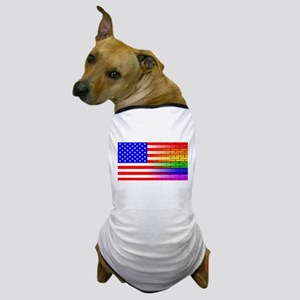Gay Rainbow Wall American Flag Dog T-Shirt