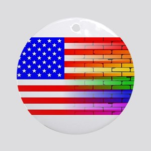 Gay Rainbow Wall American Flag Round Ornament