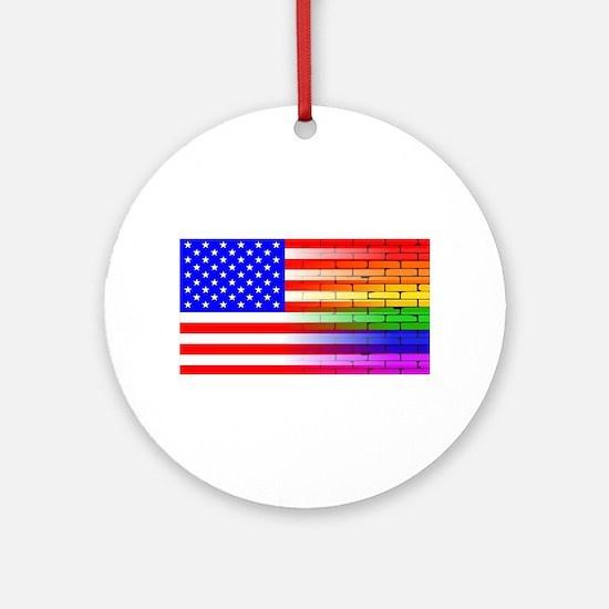 Gay Rainbow Wall American Flag Round Ornament