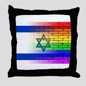 Gay Rainbow Wall Israel Flag Throw Pillow