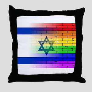 Gay Rainbow Wall Israel Flag Throw Pillow