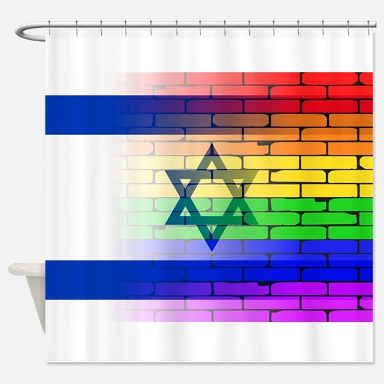 Gay Rainbow Wall Israel Flag Shower Curtain