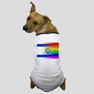 Gay Rainbow Wall Israel Flag Dog T-Shirt