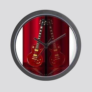 Red Guitar Reflections Wall Clock