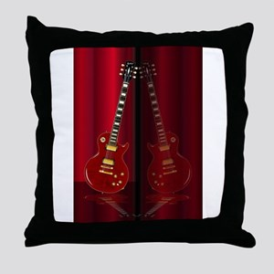 Red Guitar Reflections Throw Pillow