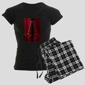 Red Guitar Reflections Women's Dark Pajamas