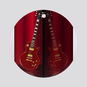 Red Guitar Reflections Round Ornament