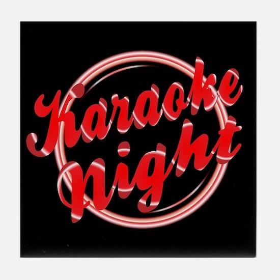 Karaoke Night Florescent Light Tile Coaster