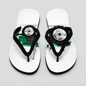 Green Isolated Tractor Flip Flops