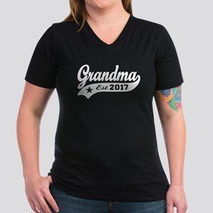 Grandma Est. 2017 Women's V-Neck Dark T-Shirt