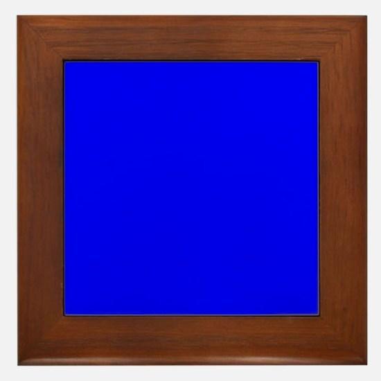 Simply Blue Solid Color Framed Tile