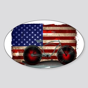 Vintage American Flag Bike Sticker