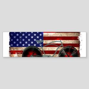 Vintage American Flag Bike Bumper Sticker