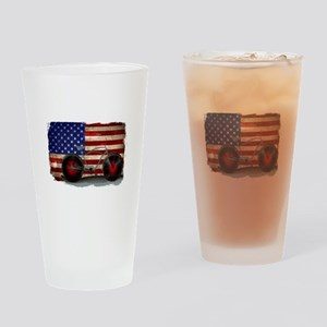 Vintage American Flag Bike Drinking Glass