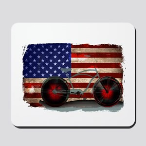 Vintage American Flag Bike Mousepad