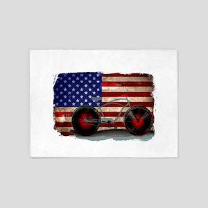Vintage American Flag Bike 5'x7'Area Rug
