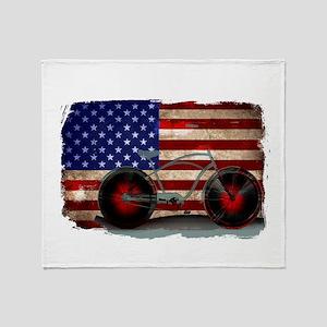 Vintage American Flag Bike Throw Blanket