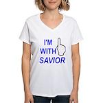 I'm With SAVIOR! Women's V-Neck T-Shirt