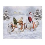 Great Pyrenees And Santa Throw Blanket