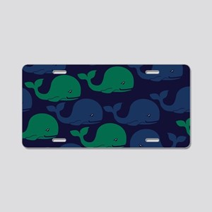 Blue & Green Moby Dick Whal Aluminum License Plate