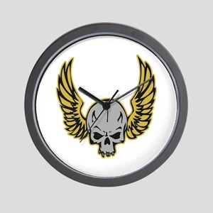 Yellow Winged Biker Skull Wall Clock