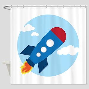 Space Rocket Shower Curtain