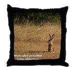Jackrabbit Sitting Throw Pillow