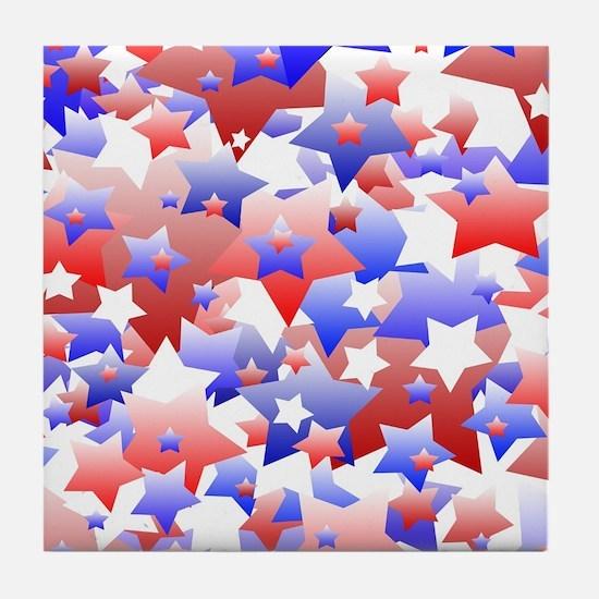 Patriotic Stars Tile Coaster