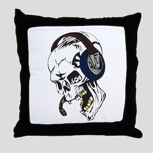 Hardcore Dee Jay Skull Throw Pillow