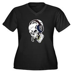 Hardcore Dee Jay Skull Women's Plus Size V-Neck Da