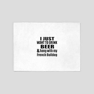 Hang With My French Bulldog 5'x7'Area Rug
