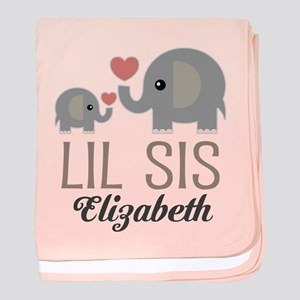 Lil Sis Personalized Sister baby blanket