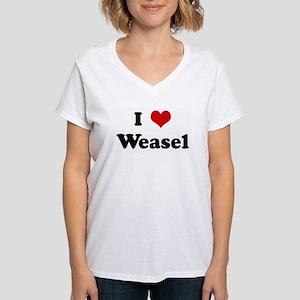 I Love Weasel Ash Grey T-Shirt