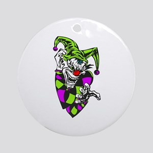 Clawing Evil Jester Clown Ornament (Round)