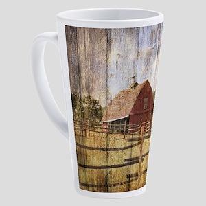 Woodgrain farm red barn 17 oz Latte Mug
