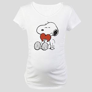Snoopy Hugs Heart Maternity T-Shirt