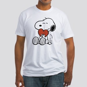 Snoopy Hugs Heart Fitted T-Shirt
