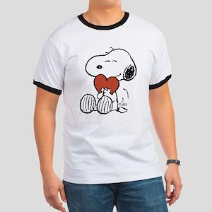 Snoopy Hugs Heart Ringer T