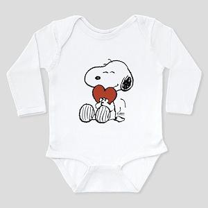 Snoopy Hugs Heart Long Sleeve Infant Bodysuit