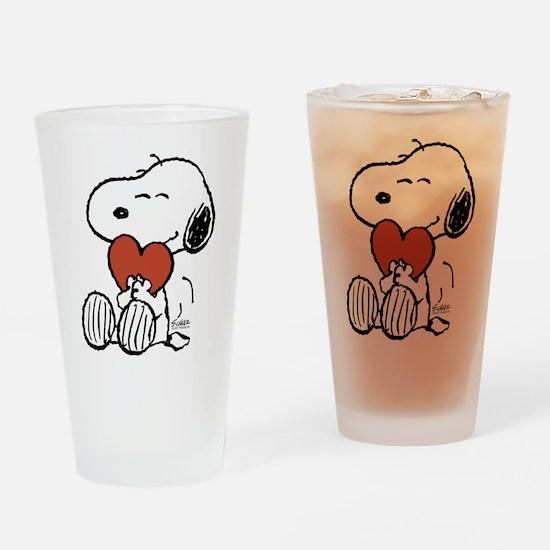 Snoopy Hugs Heart Drinking Glass
